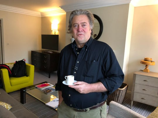 Steve Bannon in his London hotel room on Nov. 16, 2018.