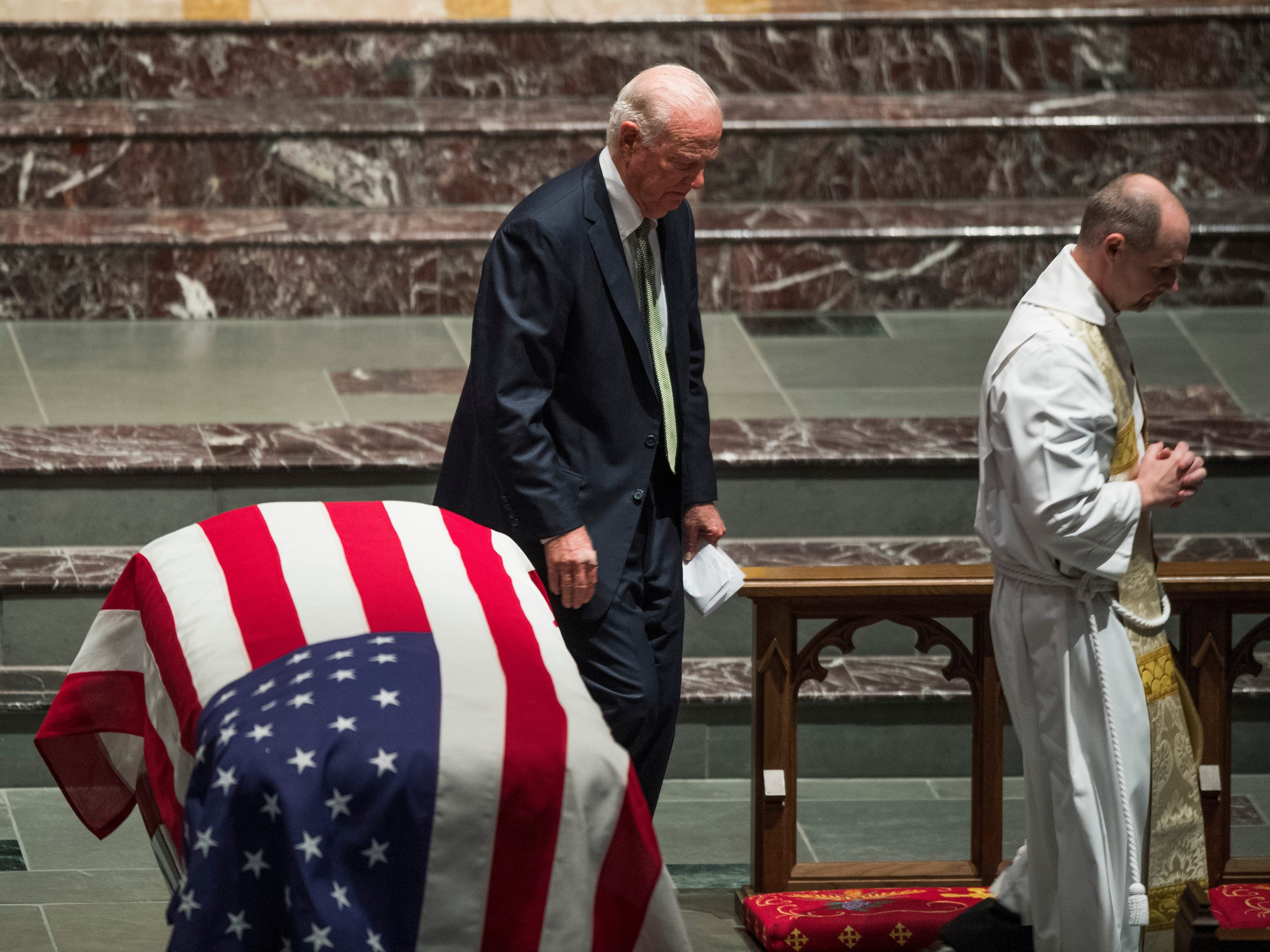 Former White House Chief of Staff James Baker after he gave a eulogy at the funeral service for former President George H.W. Bush at St. Martin's Episcopal Church in Houston on Dec. 6, 2018.