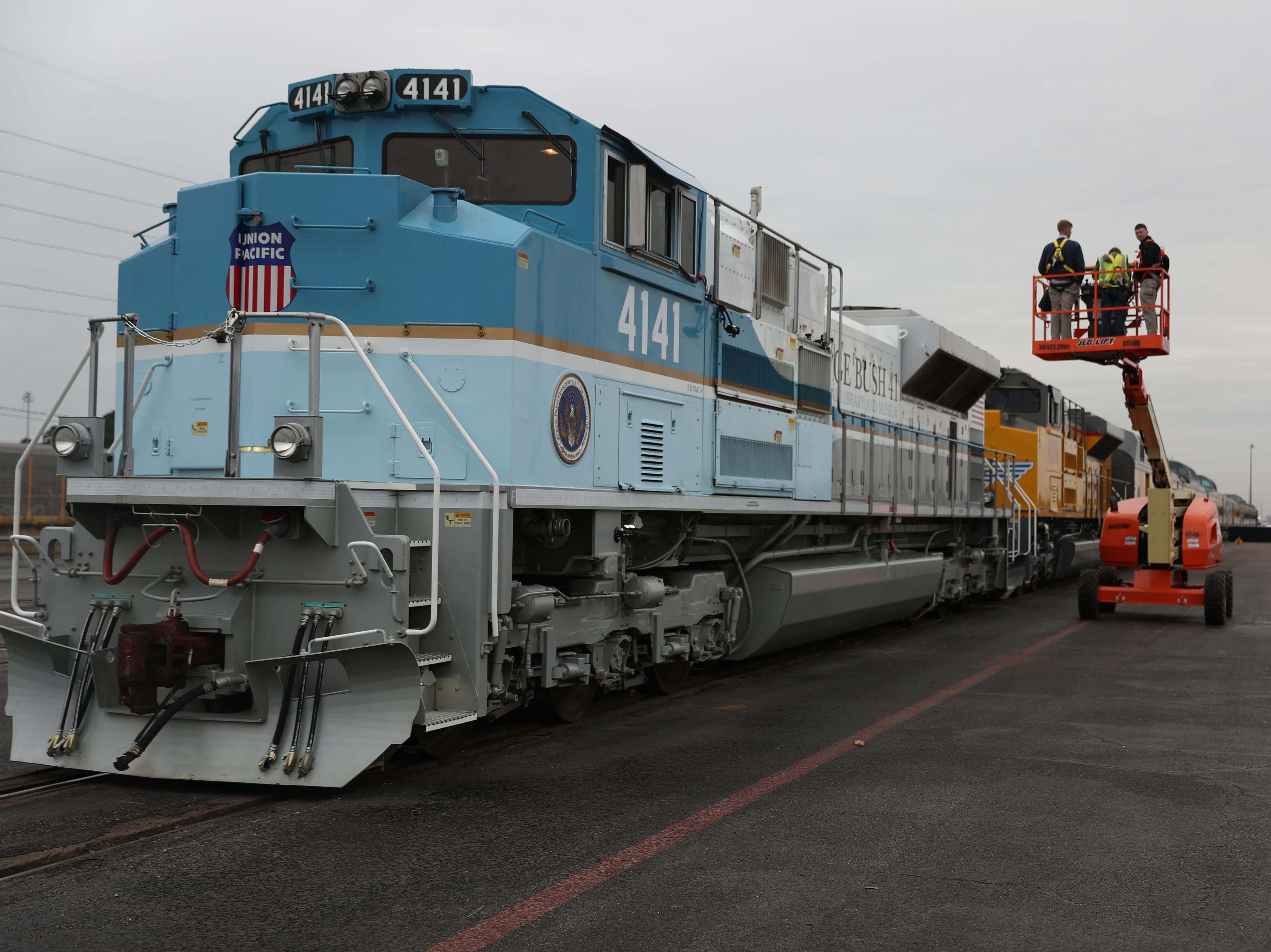 A Union Pacific locomotive, painted to look like Air Force One,  will carry former President George H.W. Bush to his resting place in College Station, Texas waits at the station on Dec. 6, 2018 in Spring, Texas.