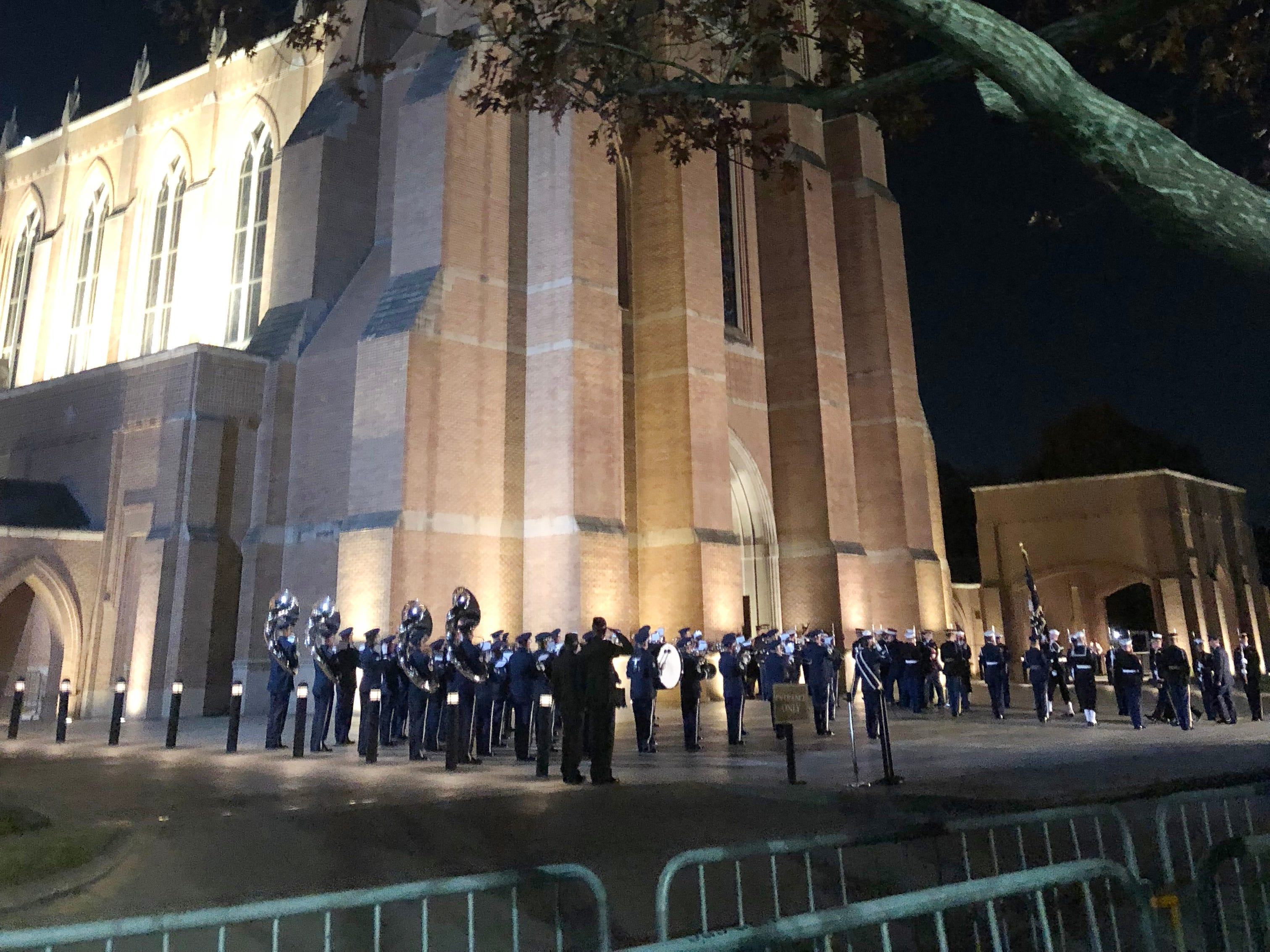 The flag-draped casket of George H.W. Bush is led inside St. Martin's Episcopal Church after a military band played Hail to the Chief. The church in Houston's upscale Tanglewood neighborhood, was the spiritual home to the Bush family for more than 50 years.