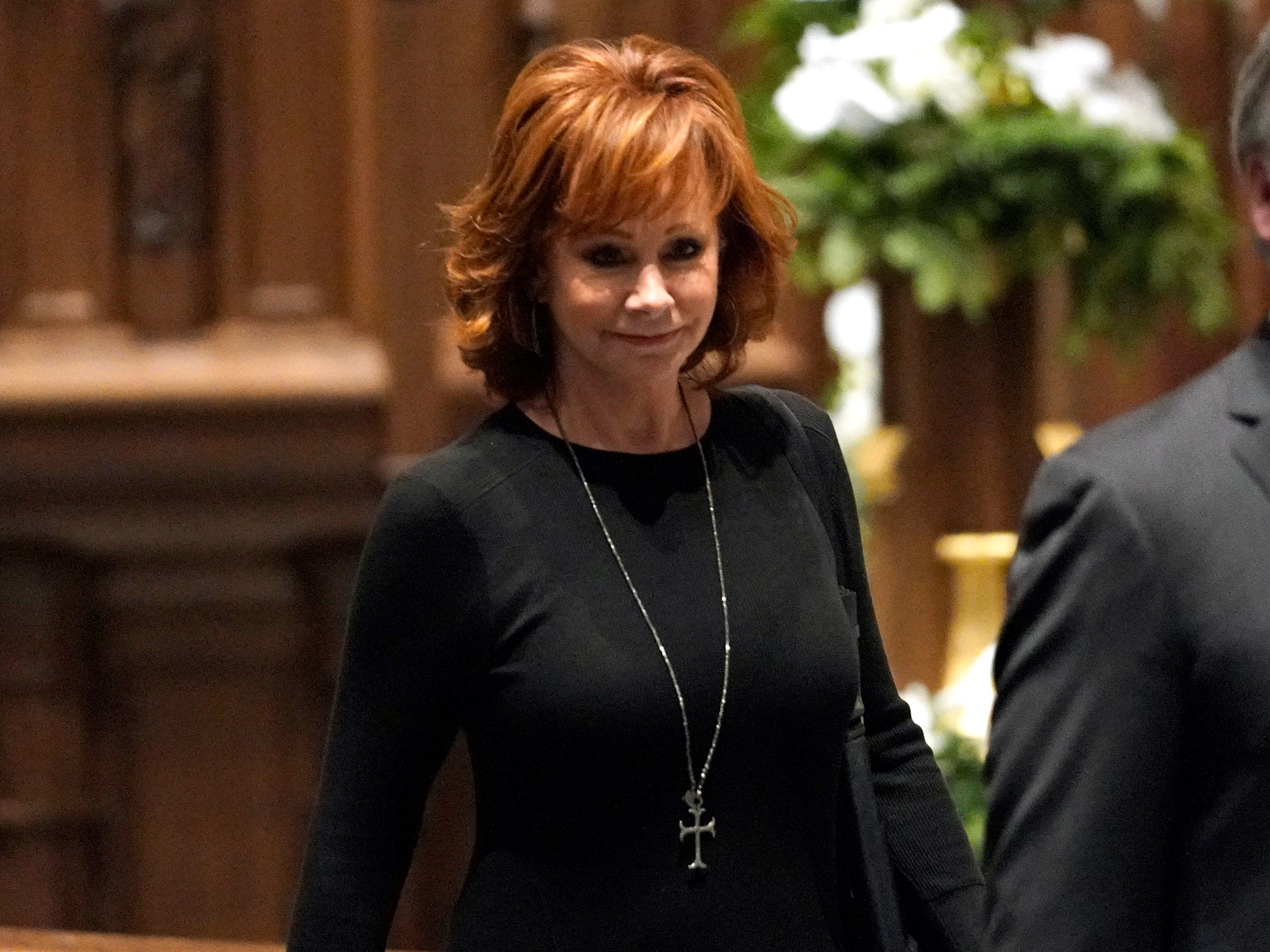 Reba McEntire arrives for a funeral service for former President George H.W. Bush at St. Martins Episcopal Church on Dec. 6, 2018 in Houston.