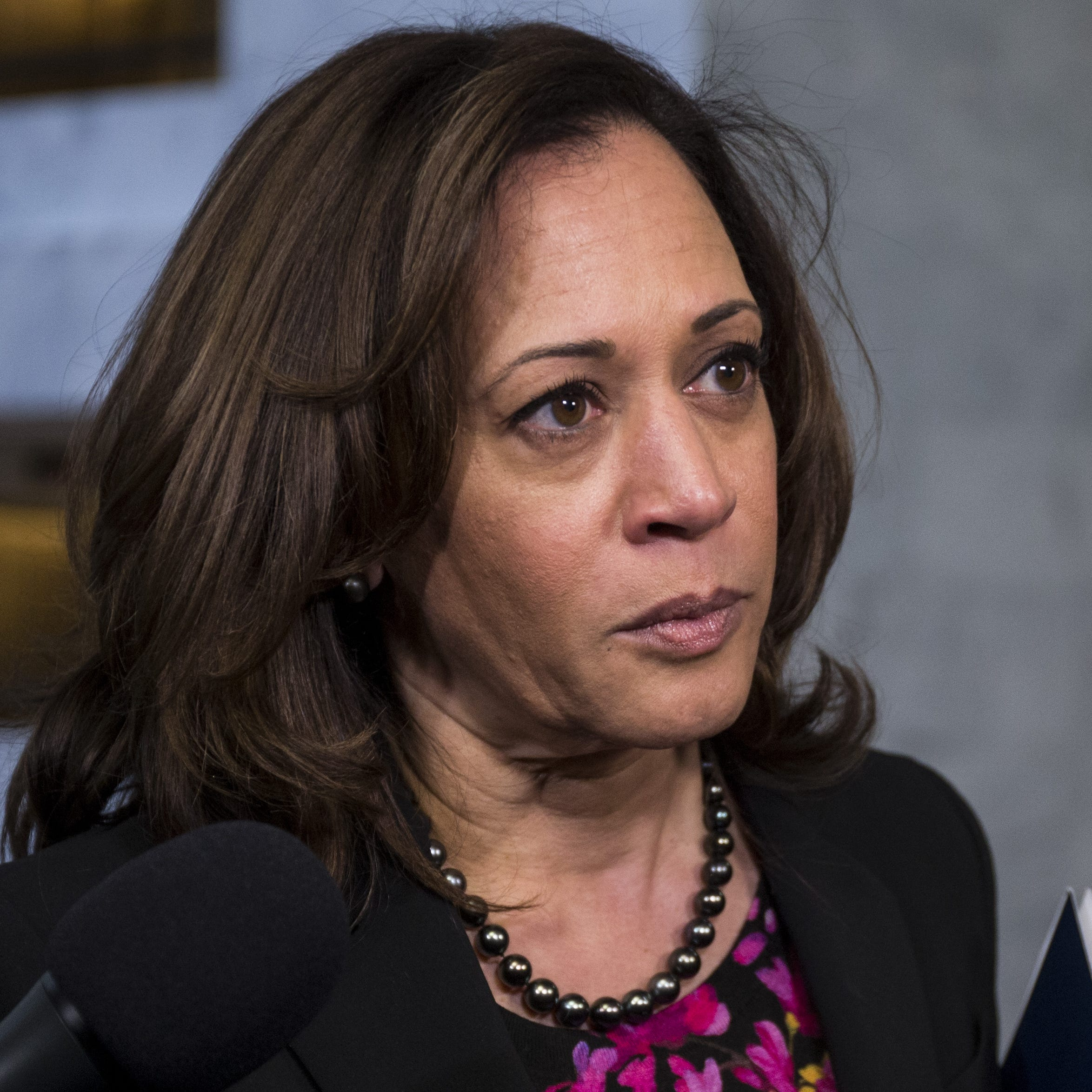 Sen. Kamala Harris, D-Calif., speaks to reporters following a closed briefing on intelligence matters on Capitol Hill on Dec. 4, 2018 in Washington.