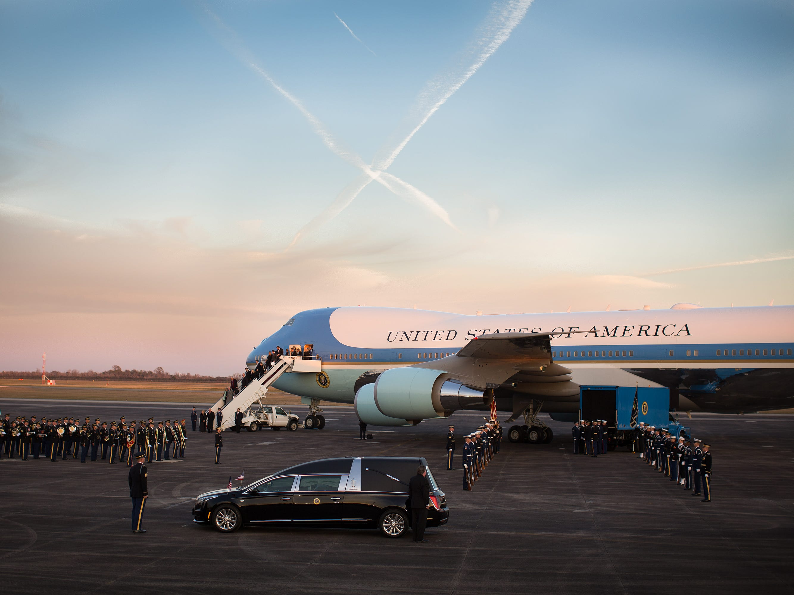 George H.W. Bush's casket returns to Houston with a ceremony and 21-gun salute at Ellington Air Force Base on Dec. 5, 2018.