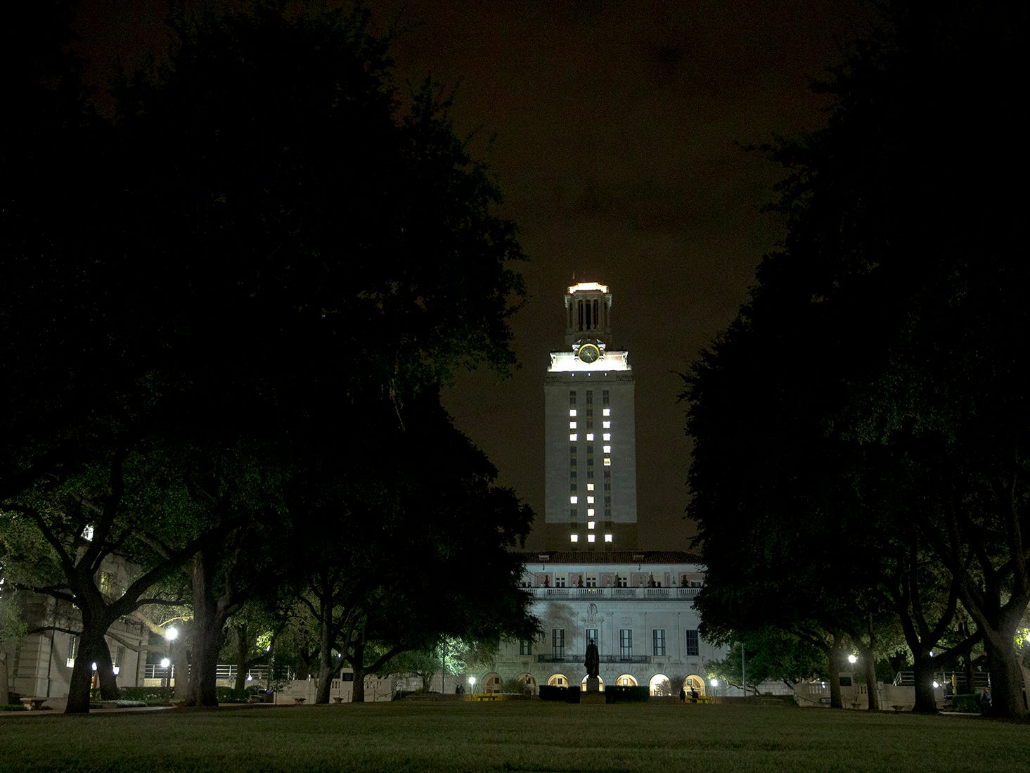 """The University of Texas at Austin tower is lit """"41"""" in honor of former President George H.W. Bush on Wednesday, Dec. 5, 2018, in Austin, Texas."""