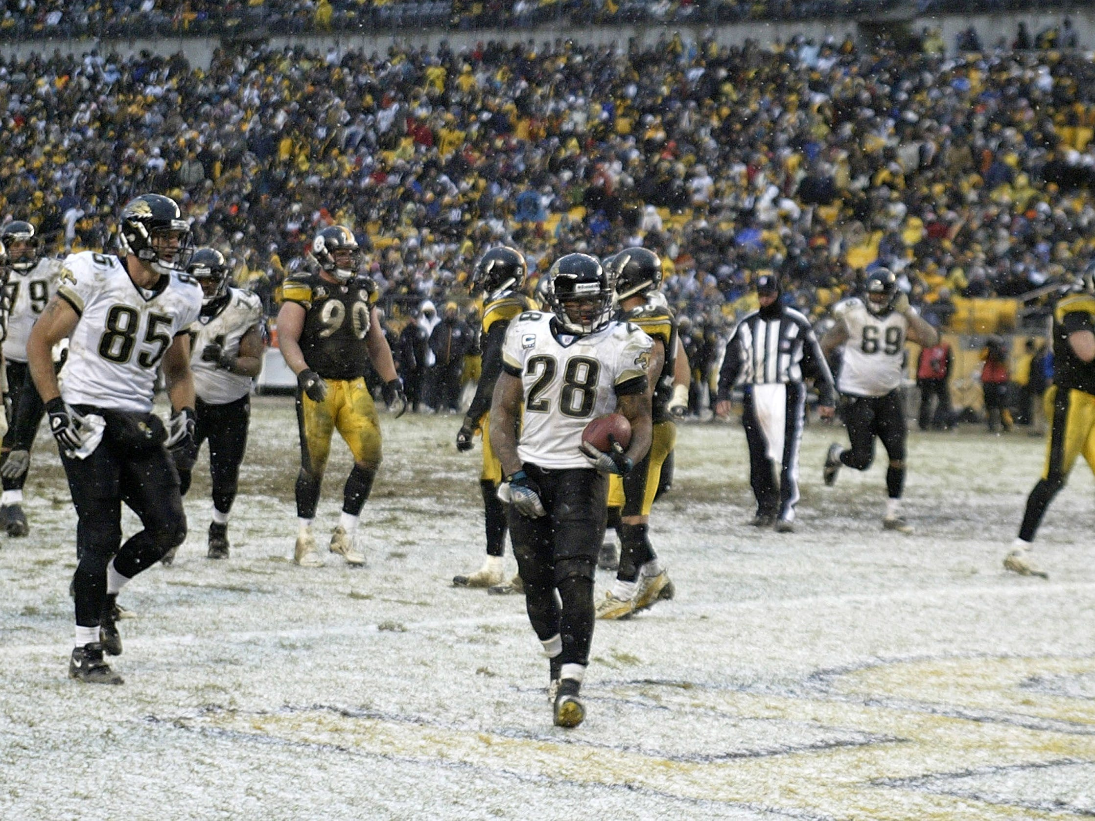 Dec. 16, 2007: Jacksonville Jaguars running back Fred Taylor walks into the end zone after scoring the winning touchdown against the Pittsburgh Steelers at Heinz Field. The Jaguars won the game, 29-22.