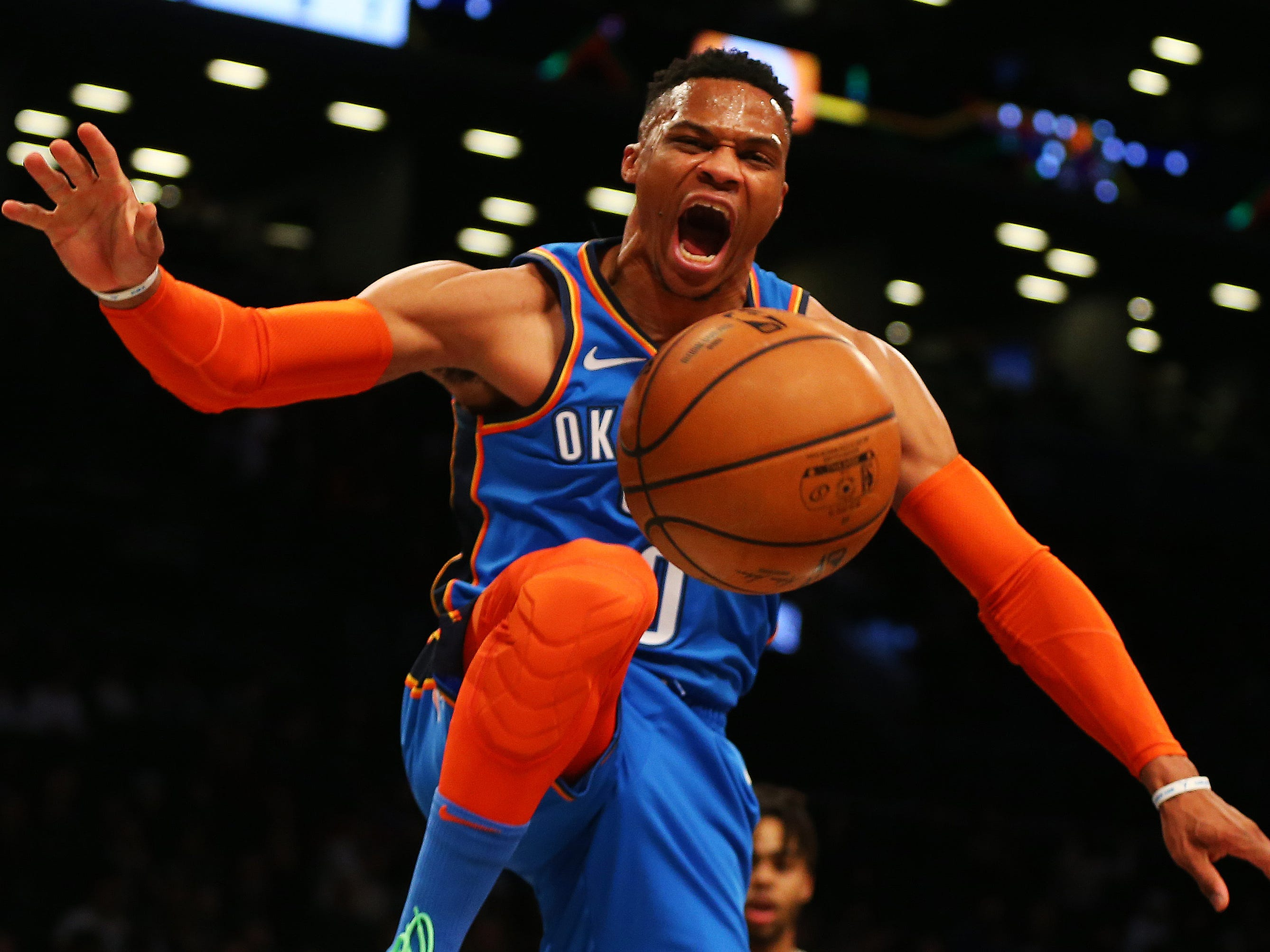 Dec. 5: Thunder guard Russell Westbrook throws down a two-handed slam during the first half against the Nets in Brooklyn.
