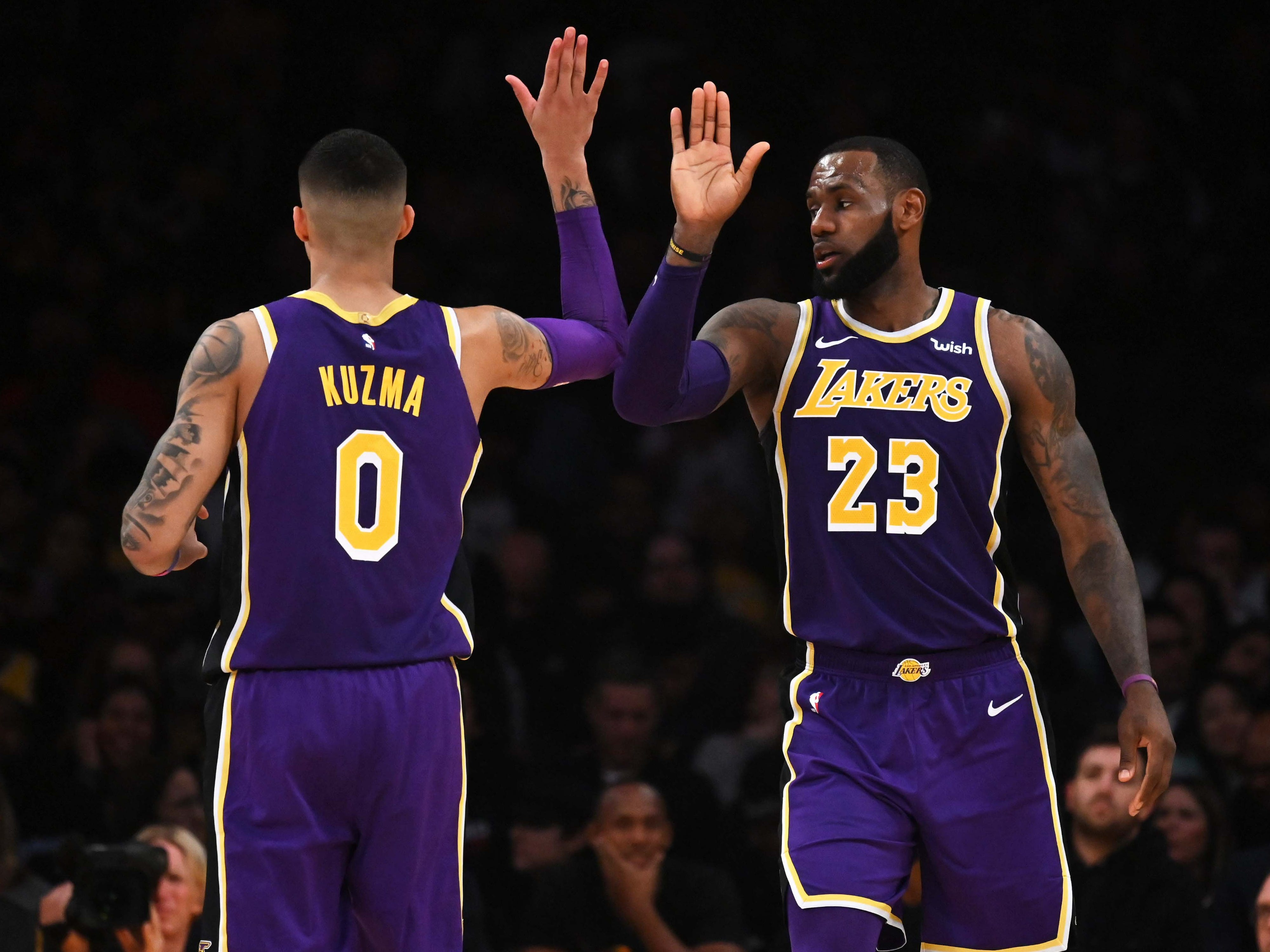 Dec. 5, 2018: LeBron James and Kyle Kuzma had reason to celebrate after the Lakers held off the Spurs for their 11th win in 14 games.