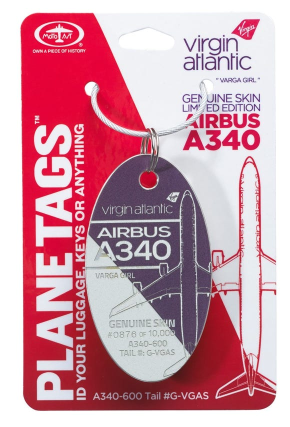 This PlaneTag come from a Virgin Atlantic Airbus A340 that last flew for the carrier in 2017.
