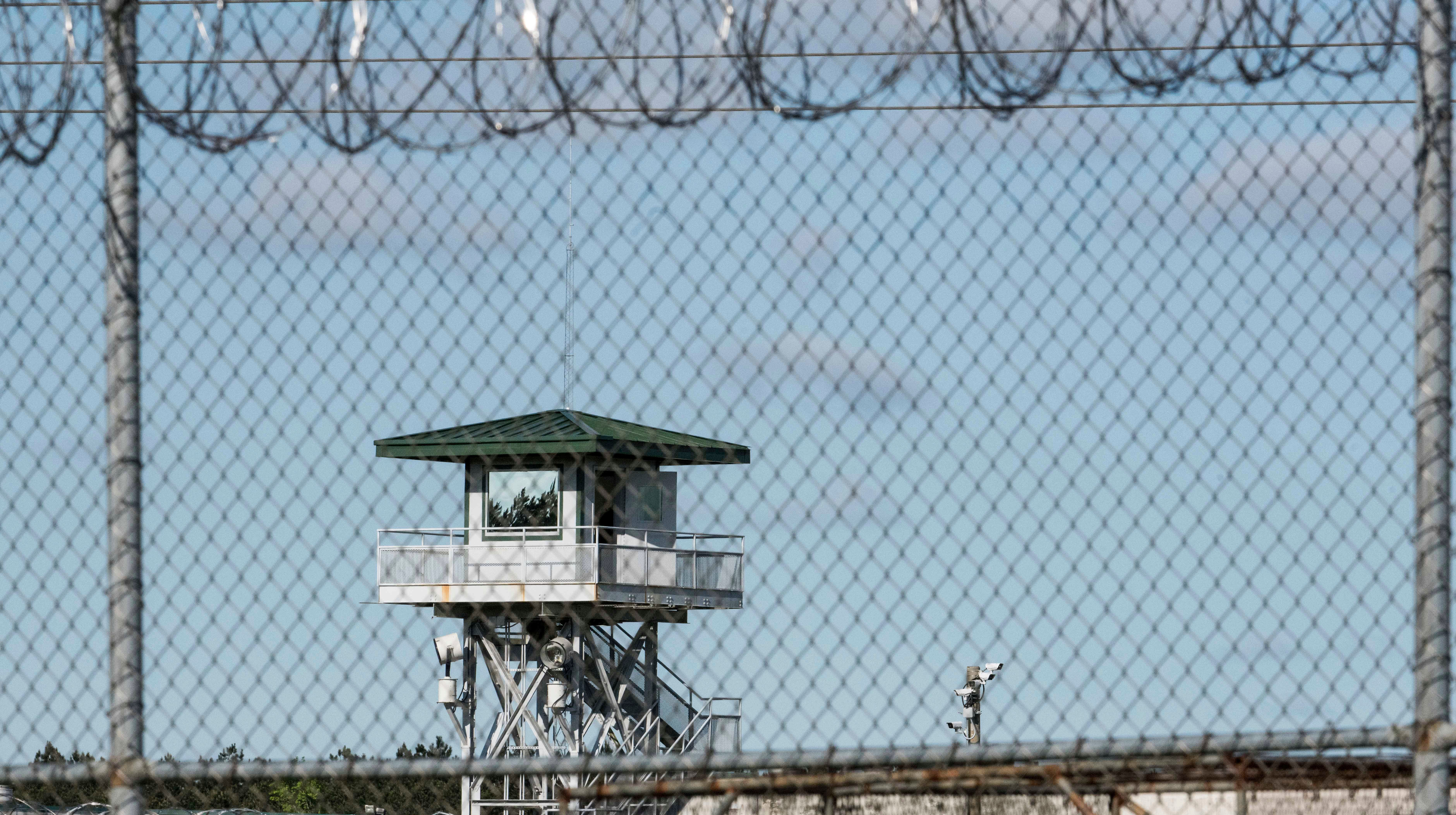 A guard tower stands above the Lee Correctional Institution, a maximum security prison in Bishopville, South Carolina.