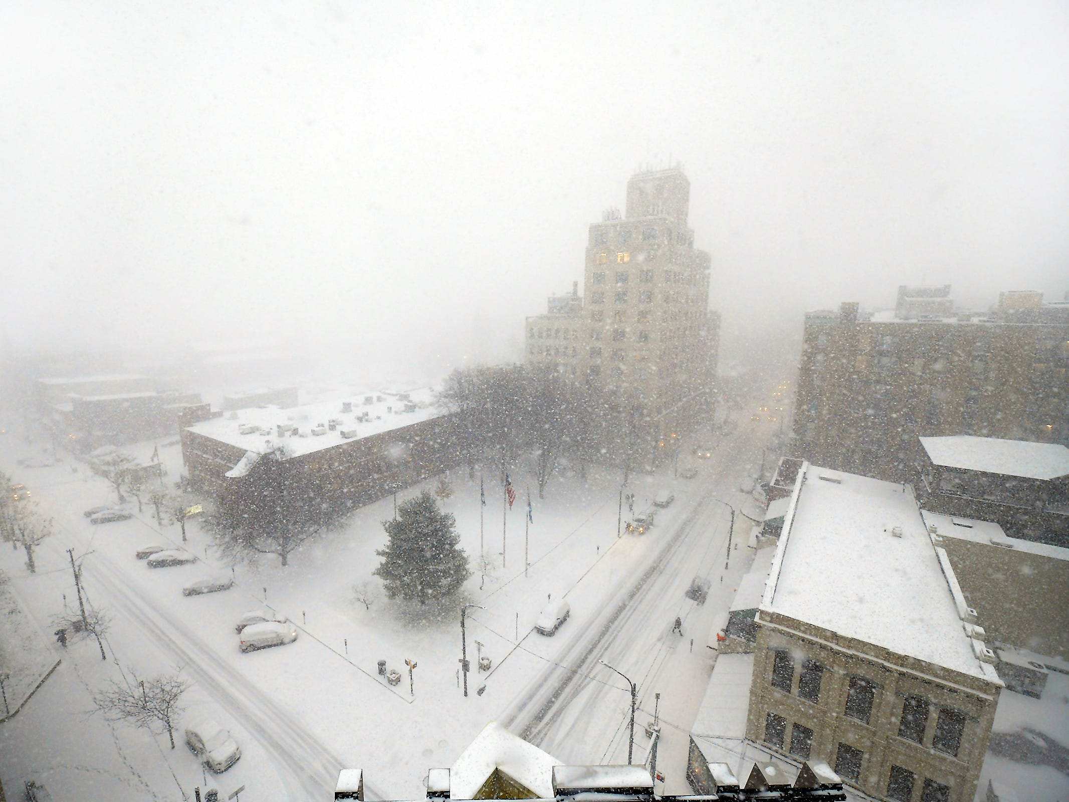 An autumn snow storm caused a white-out in downtown Scranton.
