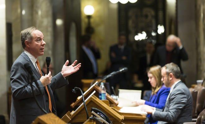 Wisconsin Assembly Speaker Robin Vos addresses the legislature on Dec. 4, 2018, in Madison.