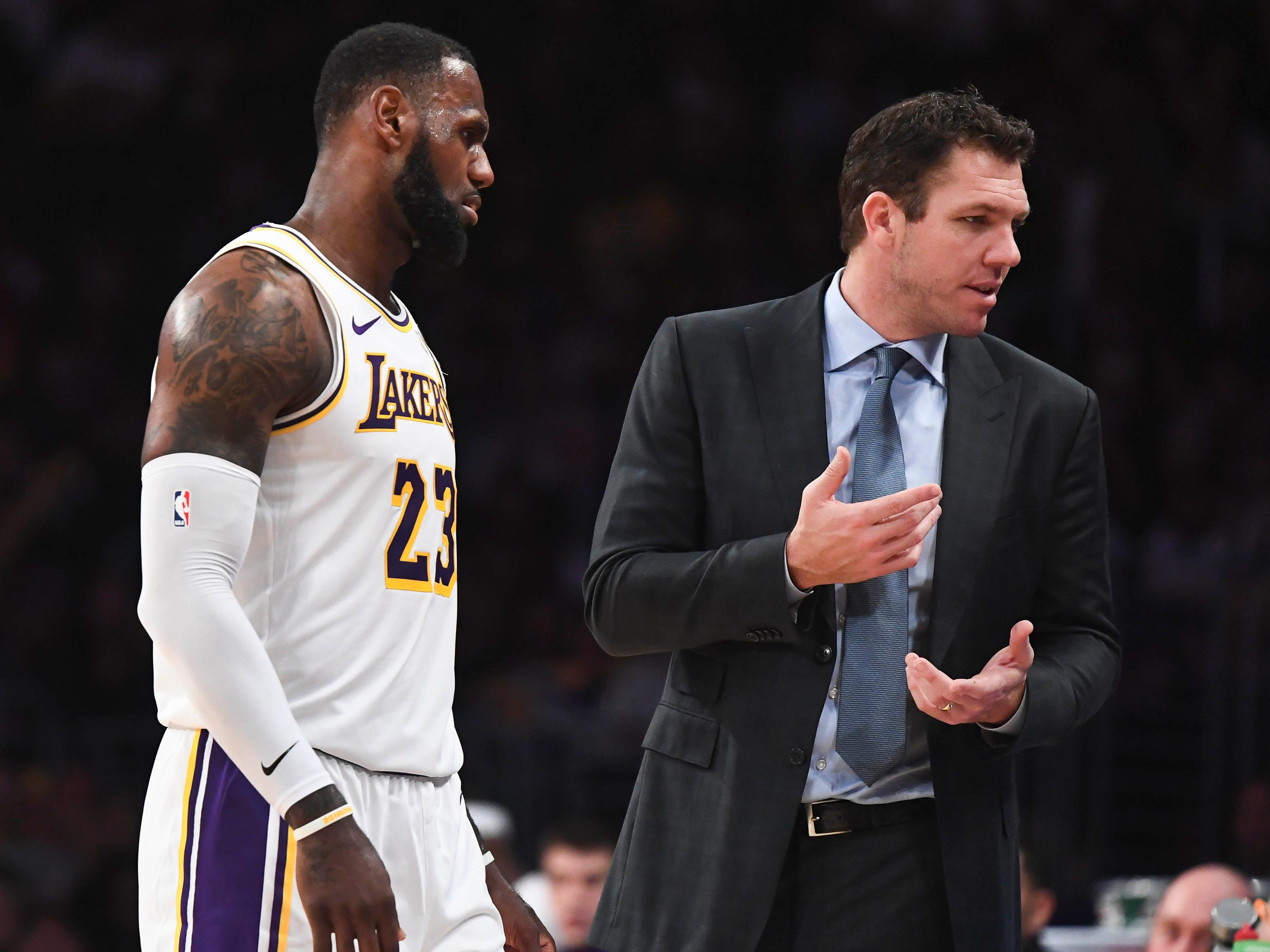 Dec. 2, 2018: LeBron James has a word with Lakers coach Luke Walton during the second half against the Suns.