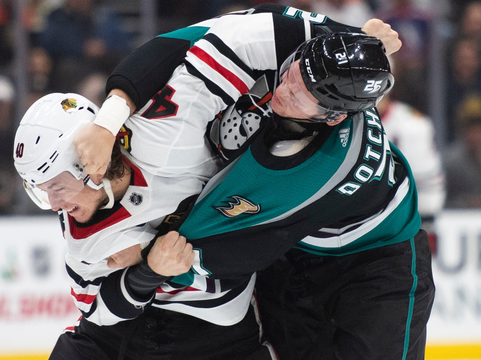 Dec. 5: Chicago Blackhawks' John Hayden vs. Anaheim Ducks' Jake Dotchin