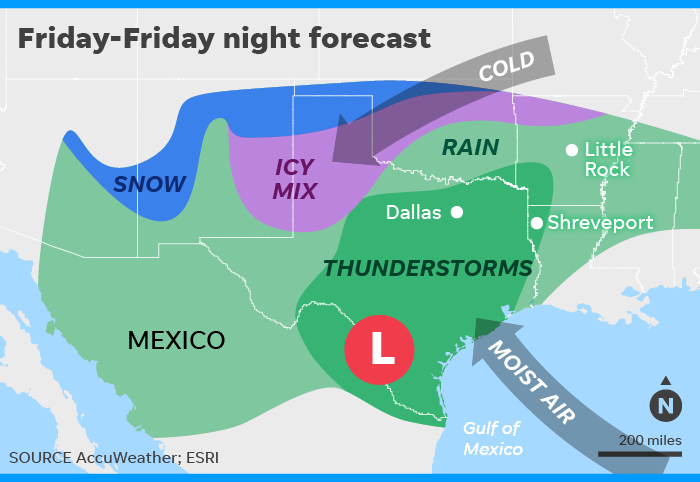 Winter storm to lash southern U S  with snow, ice, rain and