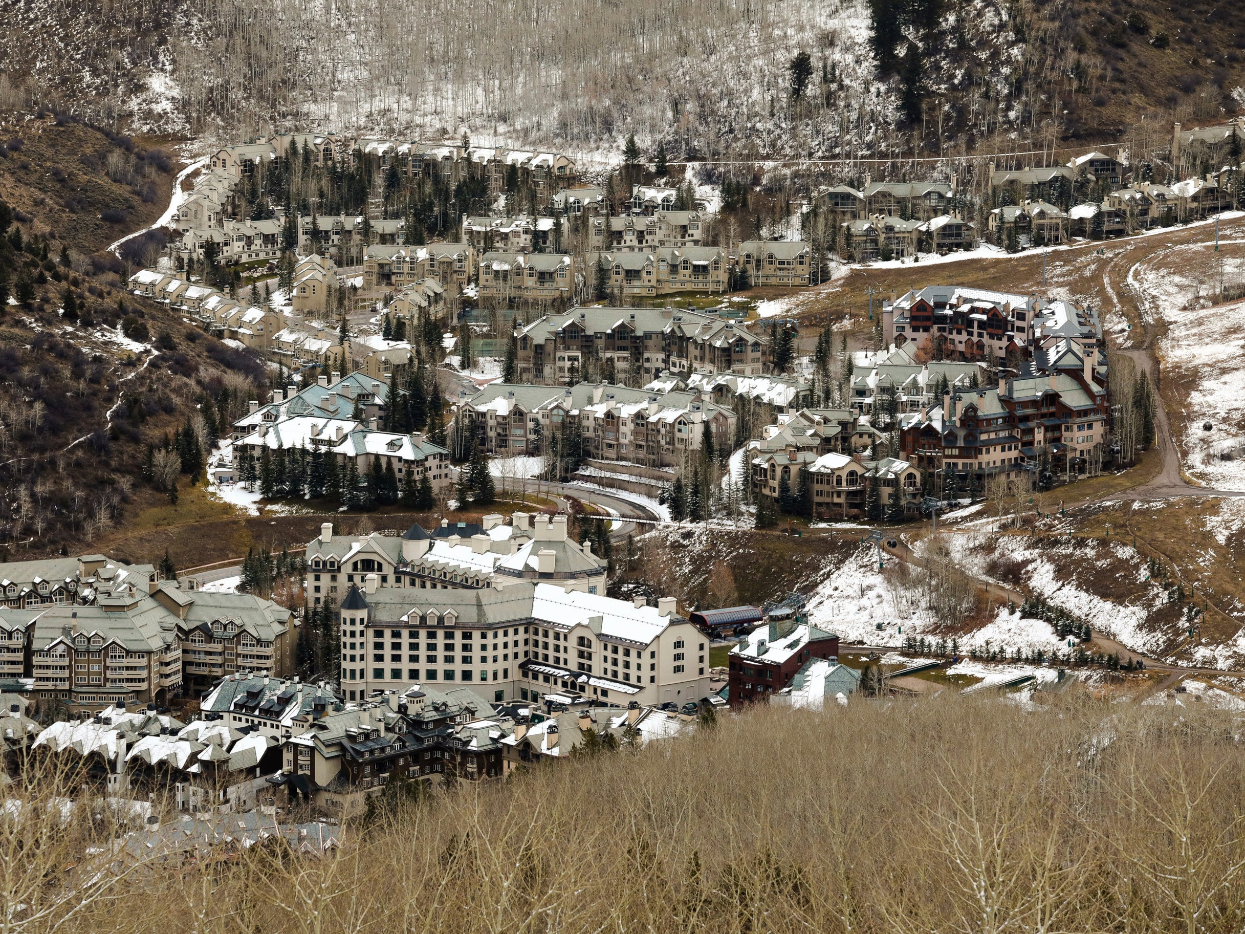 Beaver Creek Village sits with leftover snow, Nov. 1, in Beaver Creek, Colo.