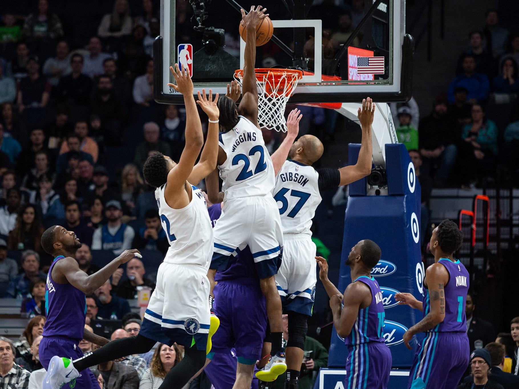 Dec. 5: Timberwolves forward Andrew Wiggins dunks the ball during the second quarter against the Hornets.