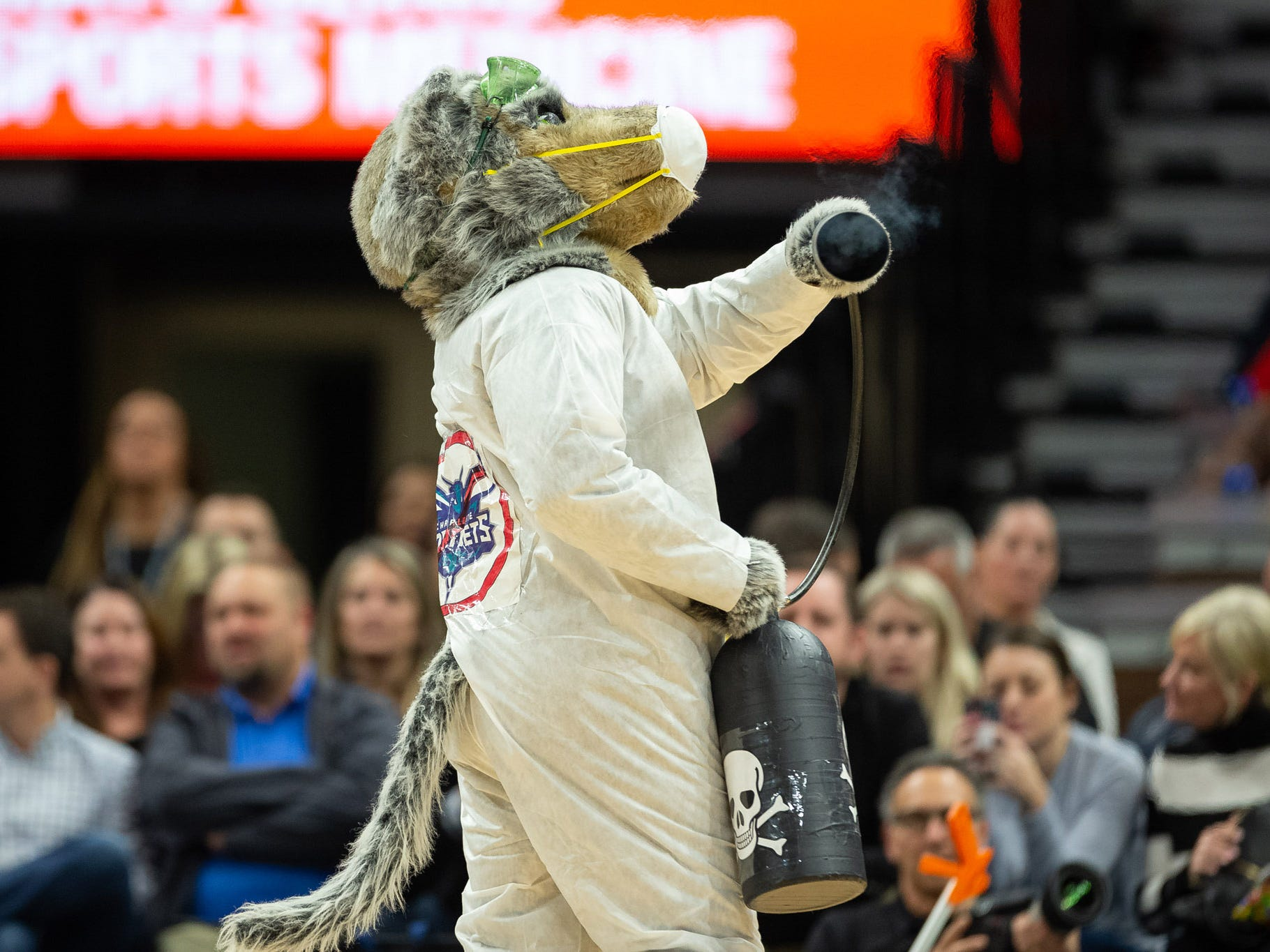 Dec. 5: Timberwolves mascot Crunch performs a skit during a timeout against the Hornets at Target Center.