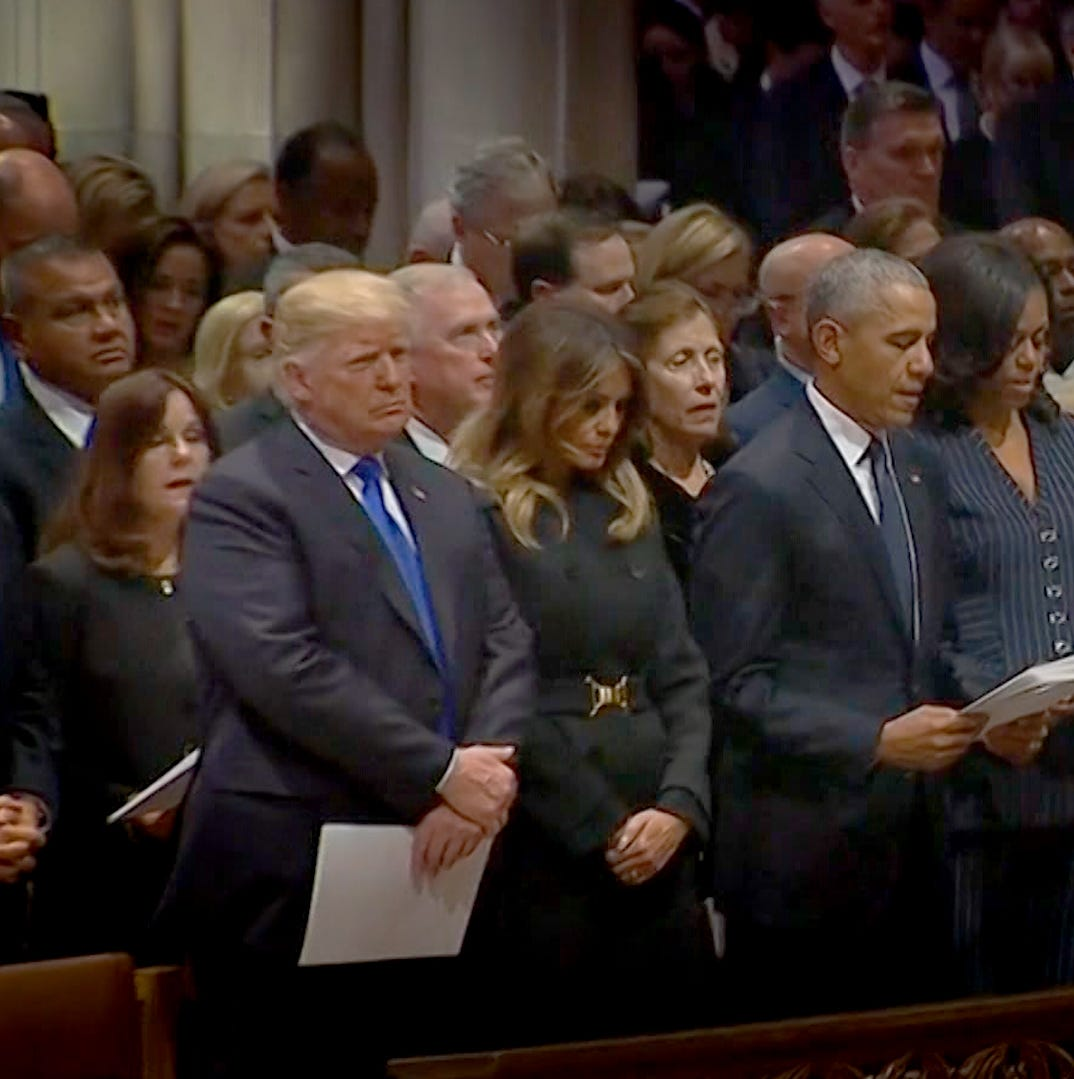 Did 'bitter' Hillary Clinton snub Donald Trump at 41's funeral?