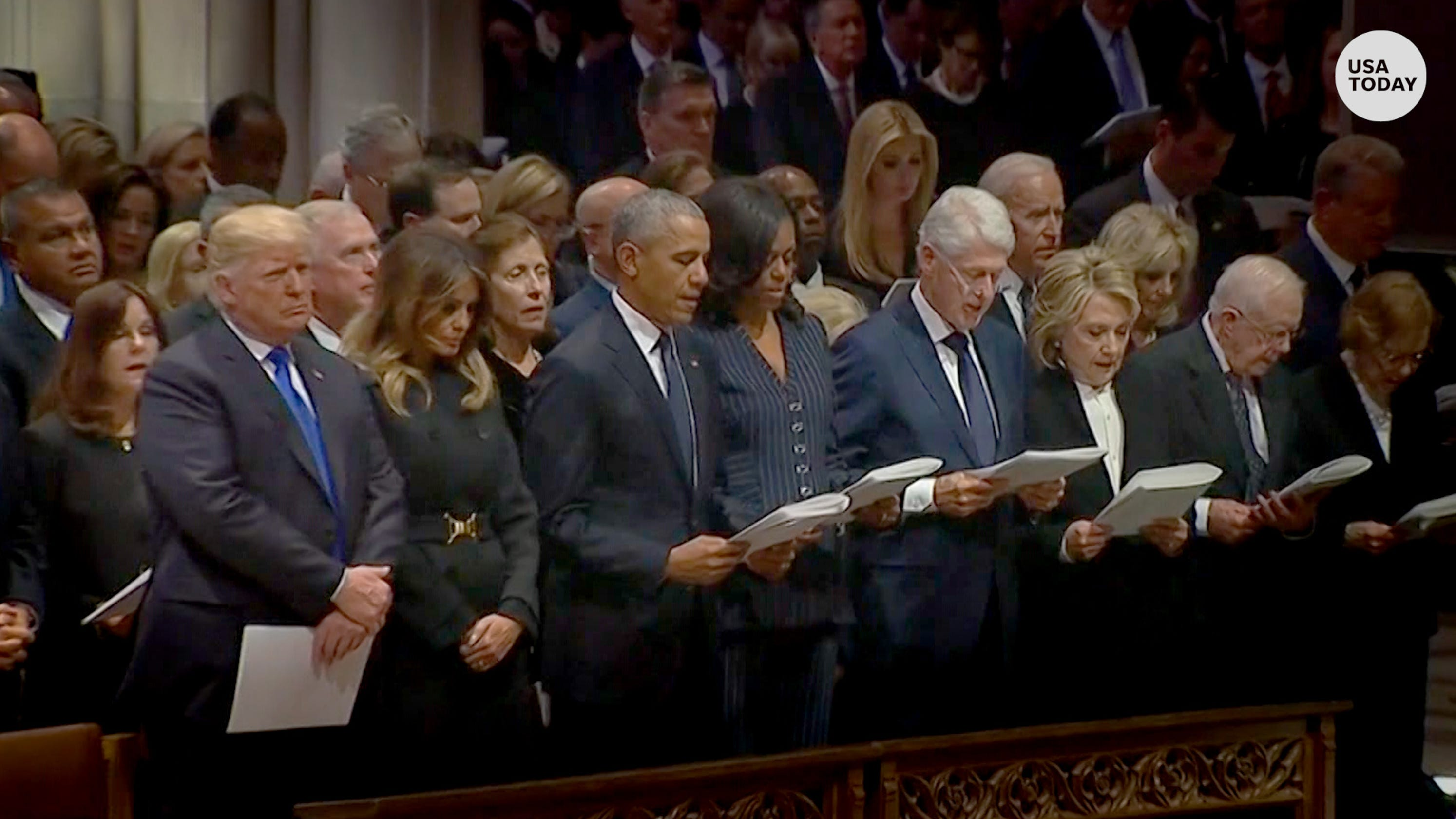 Did Hillary rudely snub Donald at 41's funeral?