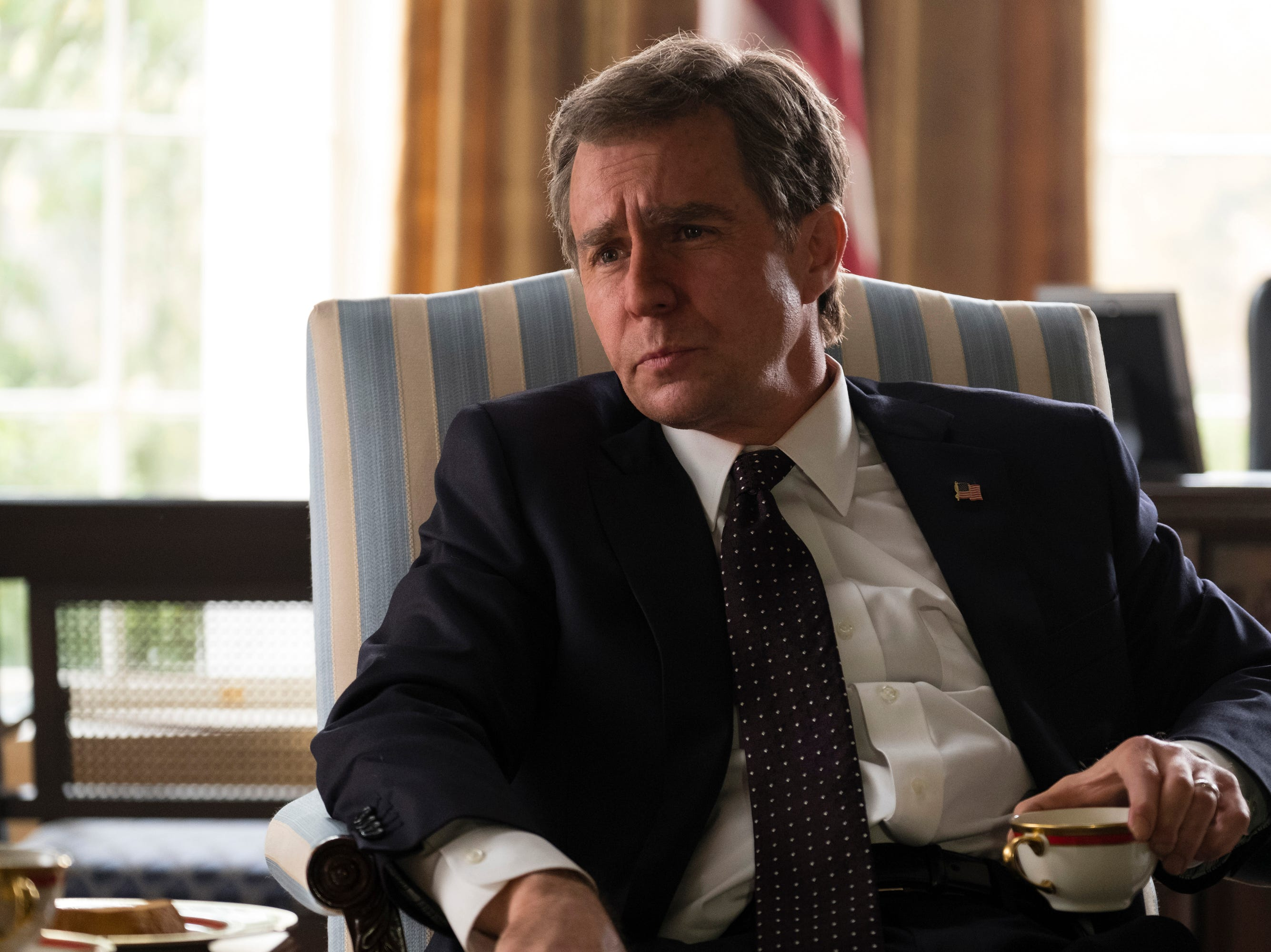 Sam Rockwell stars as George W. Bush in Adam McKayÕs VICE, an Annapurna Pictures release.