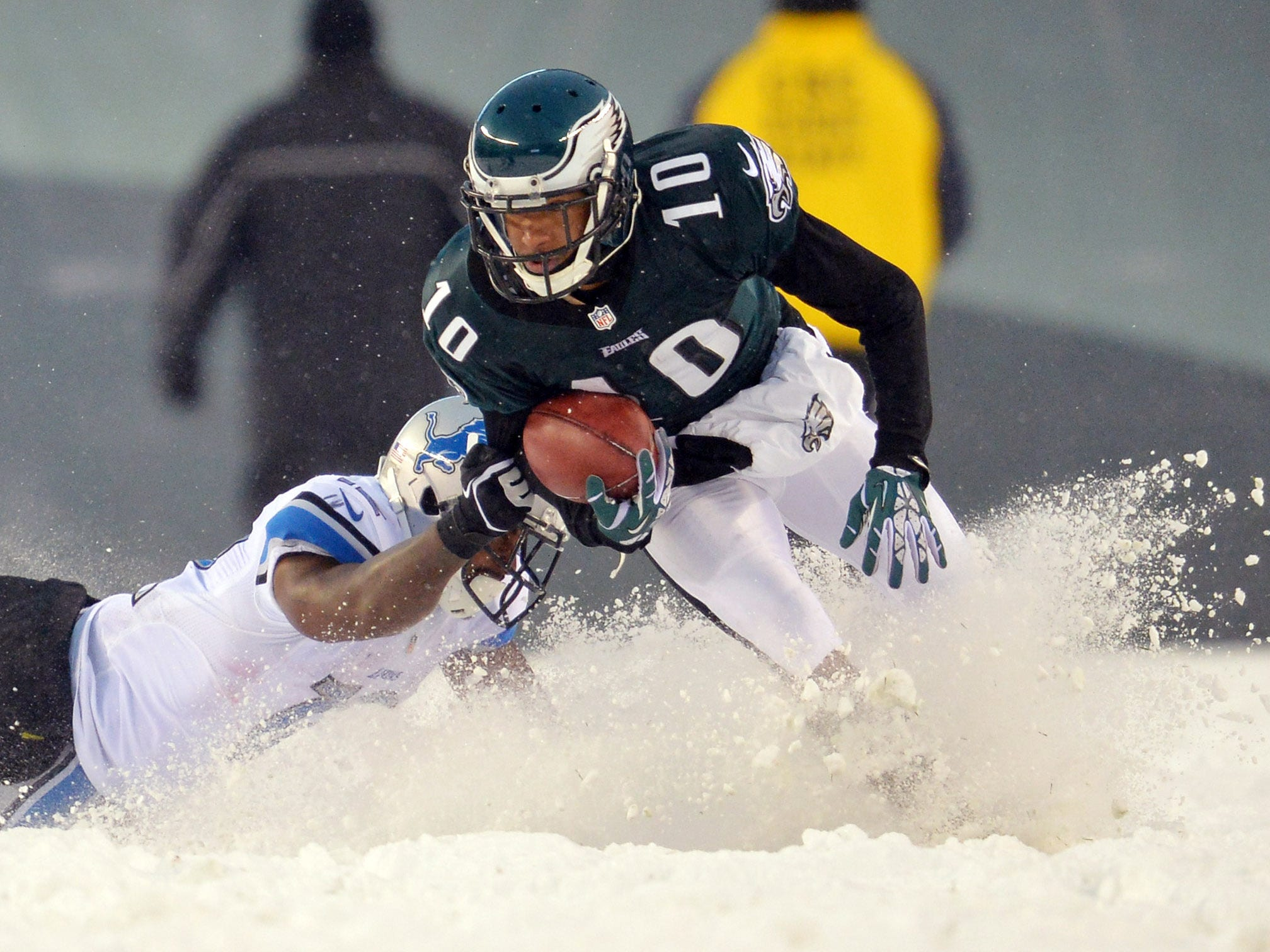 Dec. 8, 2013: Philadelphia Eagles wide receiver DeSean Jackson returns a punt against the Detroit Lions during the fourth quarter at Lincoln Financial Field. The Eagles won the game, 34-20.