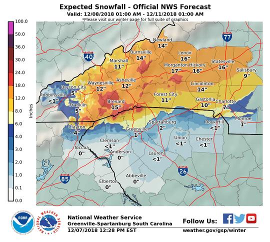 Snowfall predictions for the Carolinas