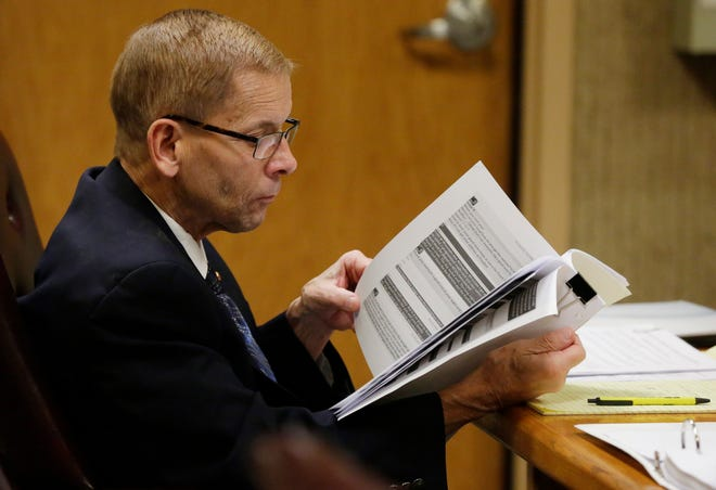 Fox Crossing Municipal Judge Len Kachinsky stands trial Thursday on a stalking charge related to his treatment of his court clerk Mandy Bartelt.