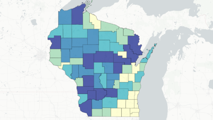 Map showing where Wisconsin gun hunters harvested the most antlered deer in 2018 season.