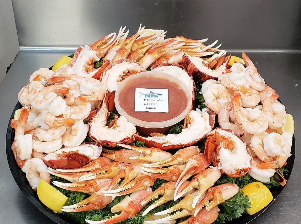 This platter, from Jody's Fishery in Neptune City, has three pounds each of shrimp, crab claws and lobster tails.
