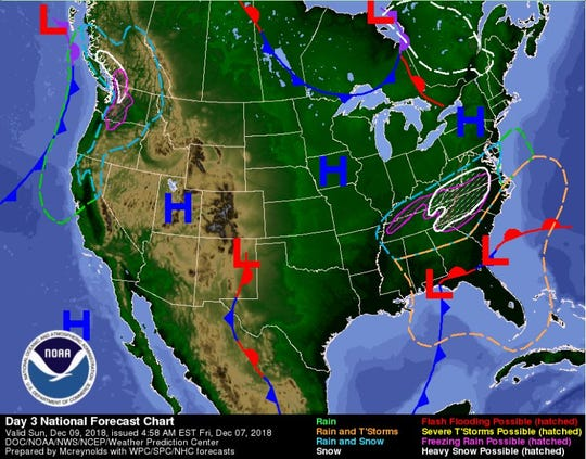 A weather map for Sunday shows snowfall over the Carolinas and Virginia.