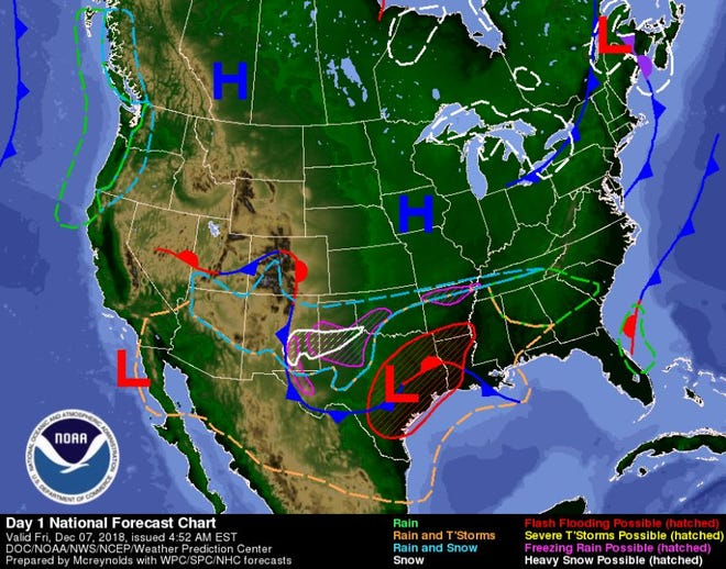 A weather map for Friday shows a storm system building over Texas and New Mexico.