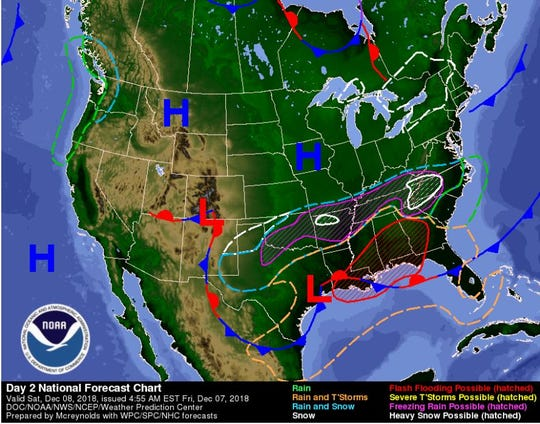A weather map for Saturday show snowfall over the Carolinas.