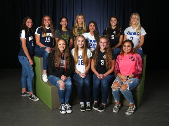 2018 All-Shore Girls Soccer. Seated l to r: KAYSIE LOURO, Jackson Memorial, HANNAH BIRDSALL, Shore Regional, DARIEN RINN, Middletown North, HALEY MARTIN, Middletown North.  Standing:  ALEXA PETO, Toms River North, MARISA TAVA, Toms River North, JULIANA RAFANIELLO, Red Bank Catholic, CAROLINE OÕCONNOR, Red Bank Catholic, JULIA EICHENBAUM, Shore Regional, GABI TRIOLO, Middletown North, FRANKIE MCDONOUGH, Shore Regional. December 6, 2018, Neptune, NJ