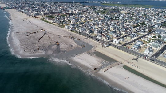 The beach replenishment operation at the south end of Ortley Beach on Aug. 9, 2018.