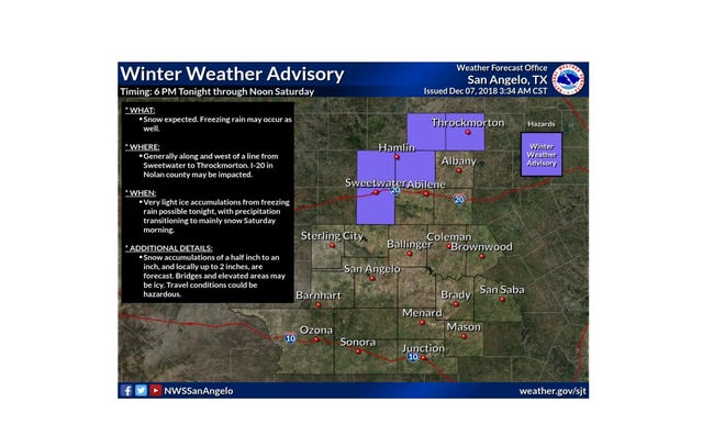 Some portions of the Big Country will be under a winter weather advisory.