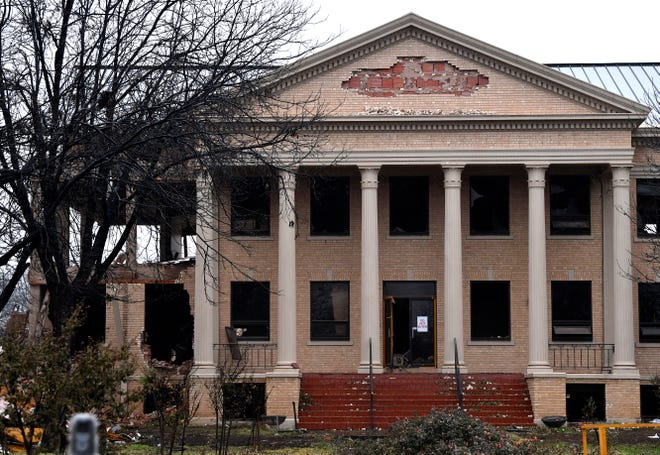 The main entrance to the Hendrick Home for Children Friday, which is being renovated. The building was designed by Abilene architect David Castle in 1938.