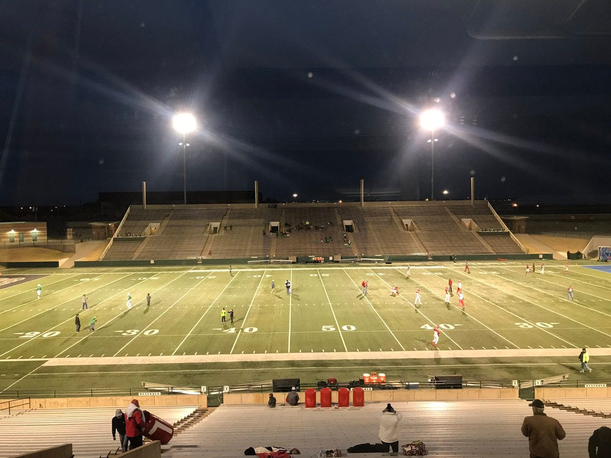 The calm before the storm at Shotwell Stadium on Thursday, Dec. 6, 2018, when Albany (8-5) and Hamlin (12-1) will kick off their 2A DII state quarterfinal game.