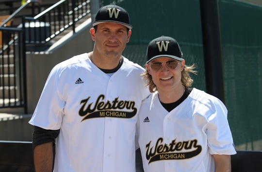 In this 2012 photo, country music singer Frankie Ballard, right, and Detroit Lion Tony Scheffler returned to their former team at Western Michigan University.