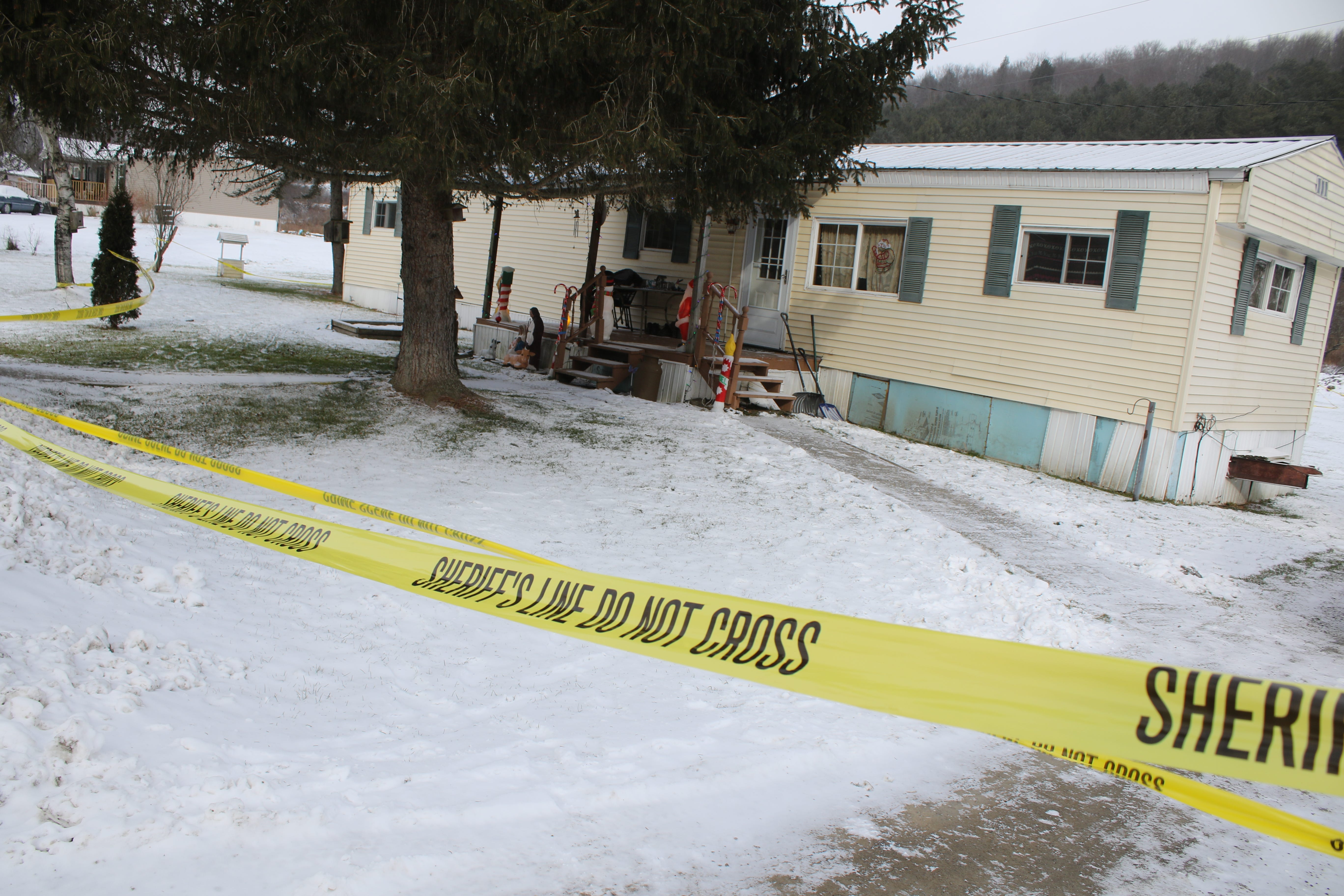 The crime scene at the Laurens residence in Otsego County, where Timothy and Solveig Perry were murdered in December 2017.