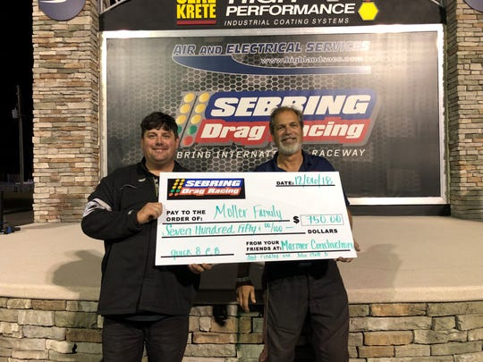 Titusville's John Platt Jr., left, and Scott Findlay show the winner's check.