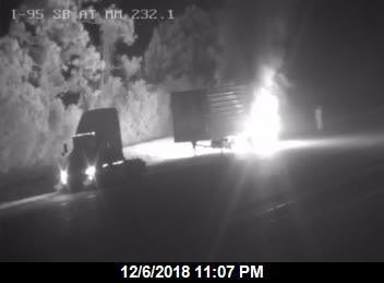 A flaming semi trailer blocked northbound lanes on Interstate 95 near Scottsmoor late Thursday.
