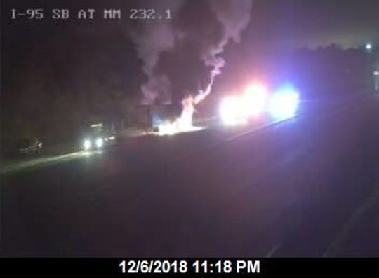 A flaming tractor trailer blocked northbound lanes on Interstate 95 near Scottsmoor late Thursday.