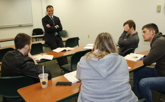 Chillicothe Mayor Luke Feeney talks with students during a recent class he teaches at Ohio University Chillicothe.