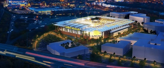 Rendering of a proposed new stadium for the Columbus Crew in downtown Columbus.