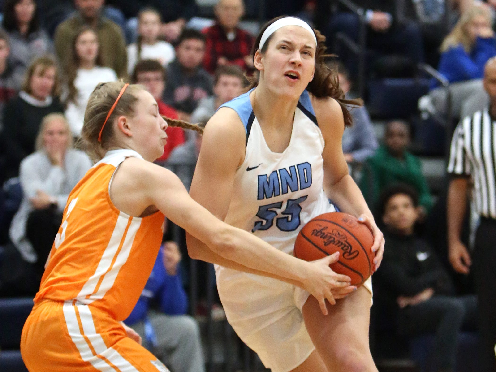 MND Forward Julia Hoefling drives to the basket.