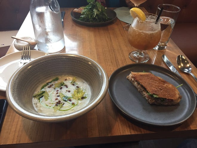 Clam chowder and pulled pork sandwich at 8th and English