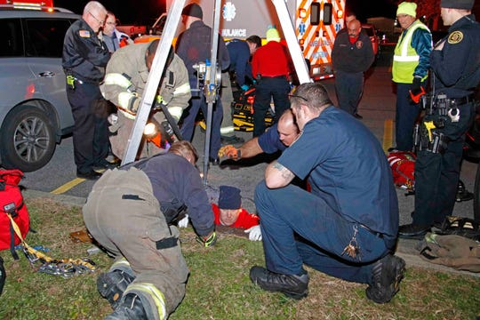 A woman and her baby were rescued from a storm drain on Cardinal Lane on Thursday, Dec. 6, 2018.