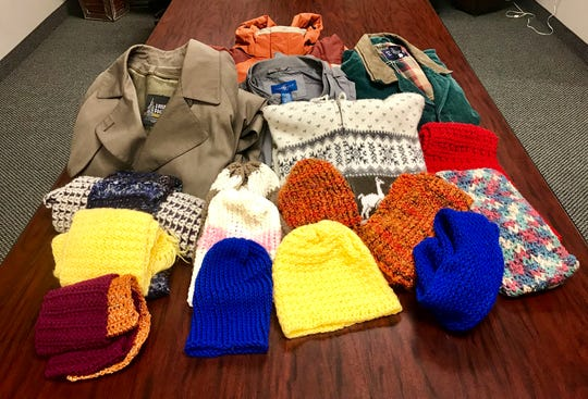 A small selection of the 1,000-plus coats, hats and scarves donated by community members to the My Central Jersey winter clothing collection effort.