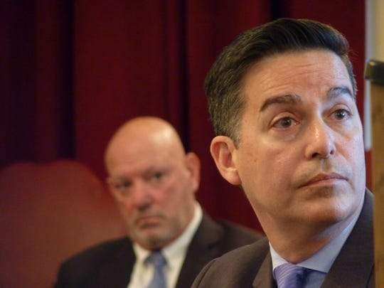 Union County First Assistant Prosecutor Albert Cernadas Jr., right, and Nathaniel Young Jr.'s defense attorney Peter Liguori.