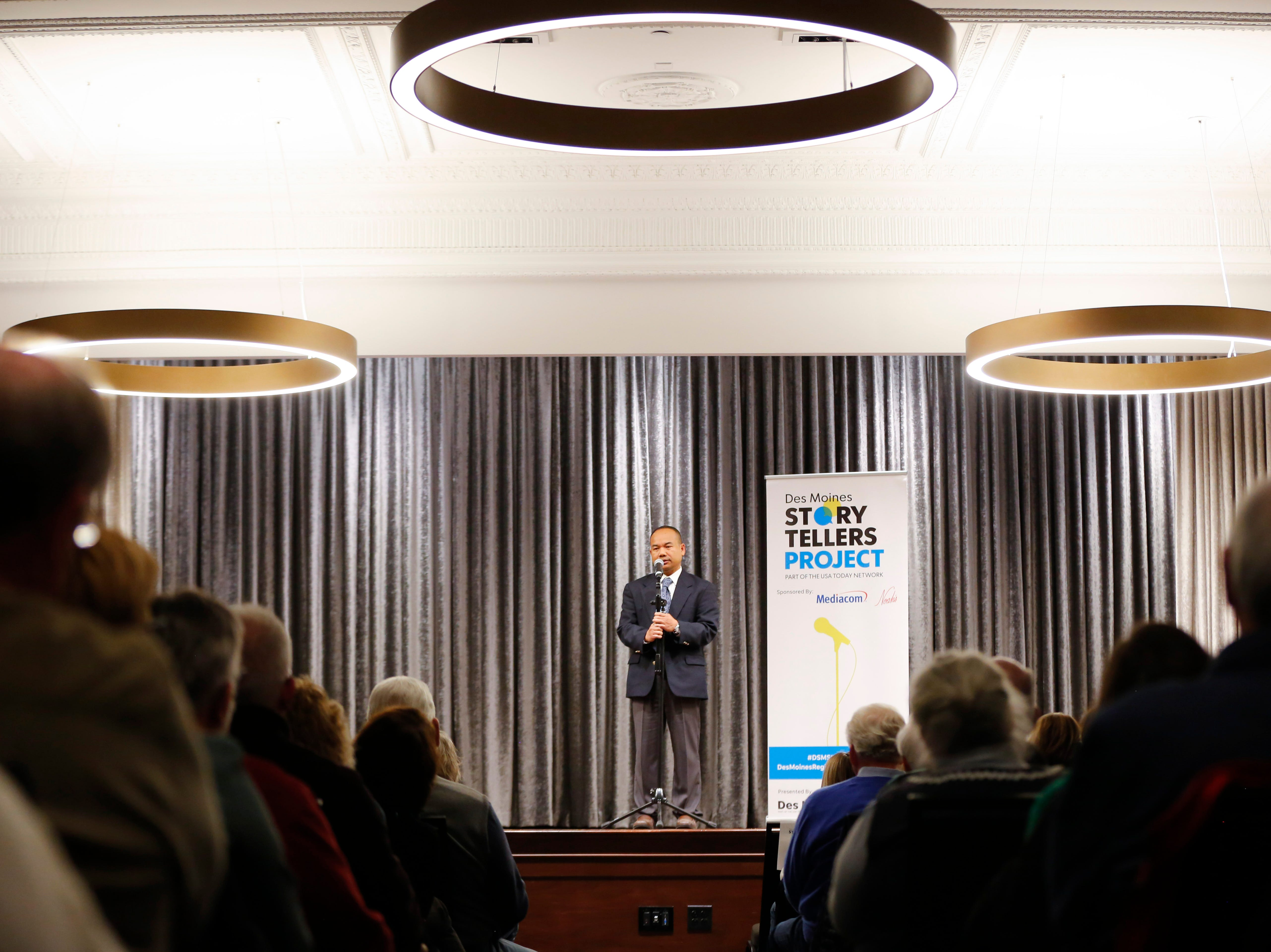 "James Suong speaks at the Des Moines Storytellers' ""War Stories: Battles on the frontline and back home"" at the Tea Room Thursday, Dec. 6, 2018."